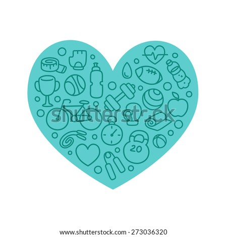 Hand drawn sport and fitness icons arranged in a heart shape isolated on white background. - stock vector