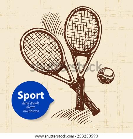 Hand drawn sport object. Sketch tennis rackets. Vector illustration  - stock vector