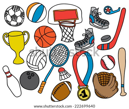 Hand Drawn Sporting Goods & Equipment - stock vector