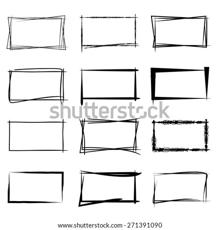 hand drawn square frames, black highlighting frames - stock vector