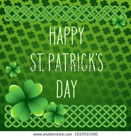 Hand drawn st patricks day greetings stock vector 1033925500 hand drawn st patricks day greetings over dark green background with clover leaves and celtic m4hsunfo