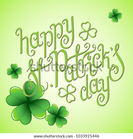 Hand drawn st patricks day greetings stock vector 1033925446 hand drawn st patricks day greetings over light green background and clover leaves irish m4hsunfo