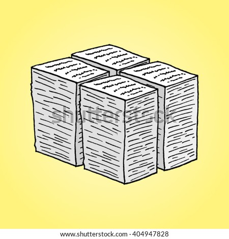Hand drawn stack of paper on a yellow background  - stock vector