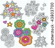 Hand-Drawn Stars and Flowers Psychedelic Notebook Doodles on Lined Paper Background- Vector Illustration - stock vector