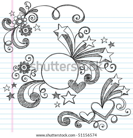 Hand-Drawn Stars, Hearts, Circle Frame, and Swirls Sketchy Notebook Doodles Vector Illustration on Lined Sketchbook Paper Background - stock vector