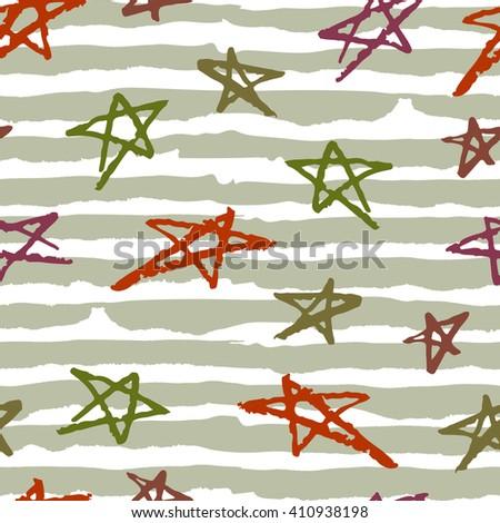 Hand drawn stars on khaki stripes background seamless vector pattern - stock vector