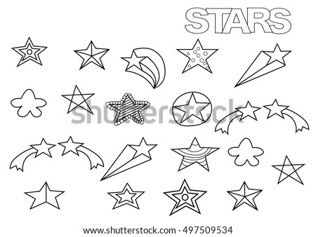 Hand drawn stars set. Coloring book page template.  Outline doodle vector illustration.