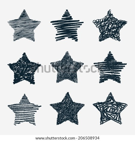 Hand drawn stars vector set - stock vector