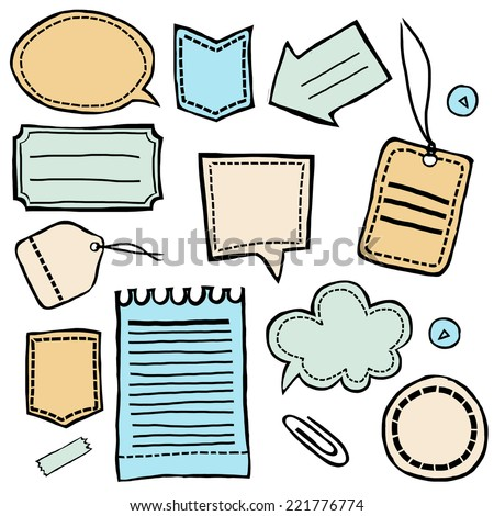 Hand drawn stickers and labels vector set - stock vector