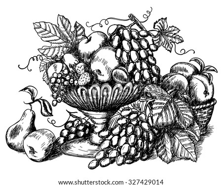Hand drawn still life with fruits and decorative frame in vintage style - stock vector