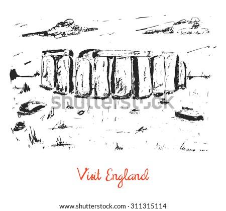 Hand drawn stonehenge sketch card, brochure, cover. Travel, tourist postcard - stock vector
