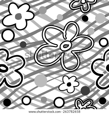 Hand drawn striped seamless texture with flowers. Black&white. - stock vector