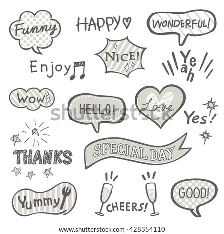 Hand drawn style balloon collection - stock vector