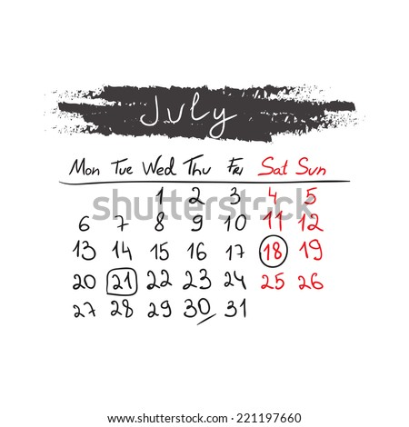 Hand drawn style calendar July 2015. Vector illustration - stock vector