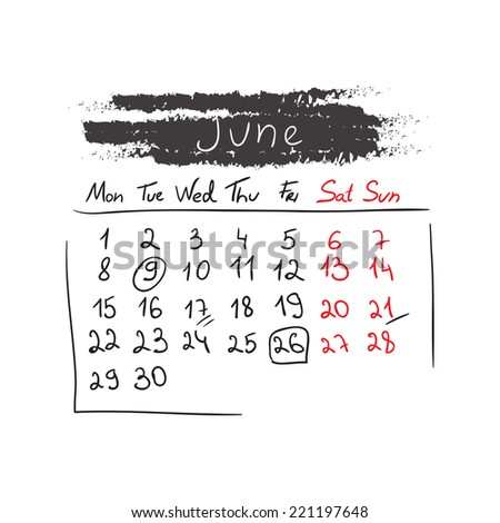 Hand drawn style calendar June 2015. Vector illustration - stock vector