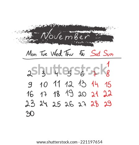 Hand drawn style calendar November 2015. Vector illustration - stock vector
