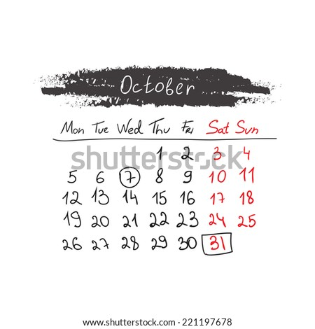 Hand drawn style calendar October 2015. Vector illustration - stock vector