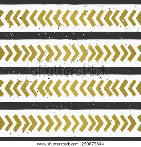 Hand drawn style chevron and lines seamless pattern. Abstract geometric repeat pattern in black and golden on white. - stock vector