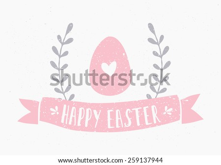 Hand drawn style Easter greeting card template. - stock vector
