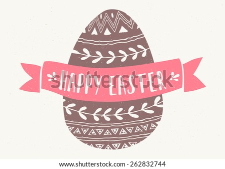 "Hand drawn style greeting card with Easter egg and banner with text ""Happy Easter"". - stock vector"
