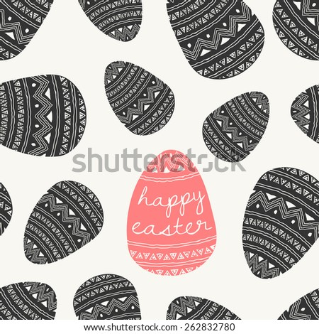 Hand drawn style seamless repeat pattern with Easter eggs in dark gray and coral red. - stock vector