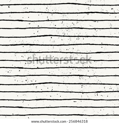 Hand drawn style striped seamless pattern. Vintage abstract repeat pattern in black and off- white. - stock vector