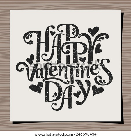 Hand-drawn style typographic design for Valentine's Day. Paper note on wood background mock-up. Happy Valentine's Day message. - stock vector