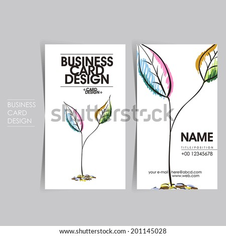 hand drawn style vector business card set template design - stock vector