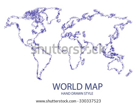 Hand Drawn Style World Map
