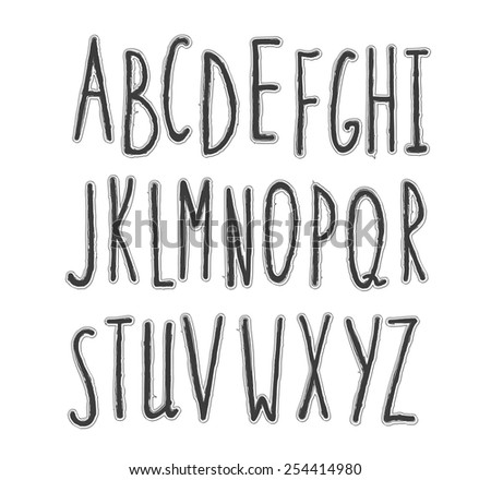 Hand Drawn Stylish Font The Alphabet In Style Of Sketch