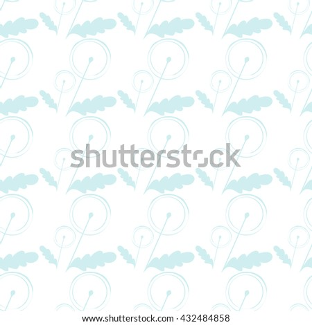 Hand drawn stylized dandelion seamless pattern. Floral abstract background - stock vector