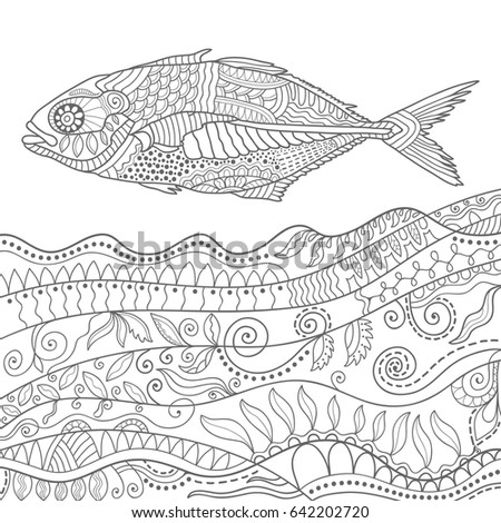 Hand Drawn Stylized Fish And Sea Ocean Waves Doodle Pattern Sketch Animal Collection For