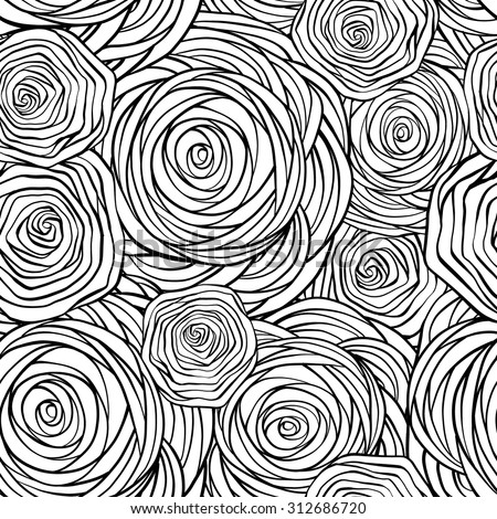Hand-drawn stylized graphic roses black and white seamless pattern. - stock vector