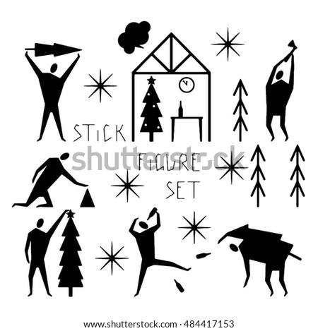 Hand drawn stylized stick figure new year theme with unique lettering. Flat people vector illustration. (Can be used as texture for cards, invitations, DIY projects, web sites or for any design.)