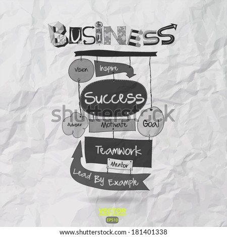 hand drawn SUCCESS business diagram on crumpled paper background  as concept - stock vector