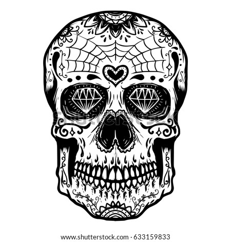 Hand Drawn Sugar Skull Isolated On White Background Day Of The Dead Design Element