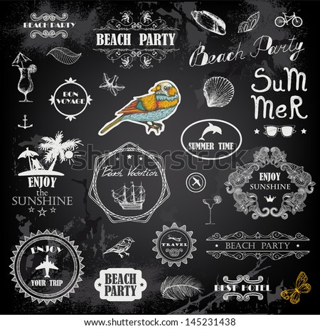 Hand drawn summer calligraphic elements - stock vector