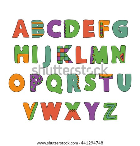 Hand Drawn Summer Creative Alphabet. Vector.