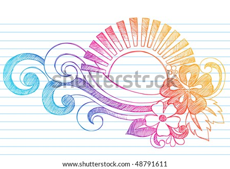 Hand-Drawn Summer Hibiscus Flower, Waves, and Tropical Sun Sketchy Notebook Doodles Vector Illustration on Lined Sketchbook Paper Background - stock vector