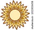 Hand Drawn Summer Sun Tribal Background - stock vector