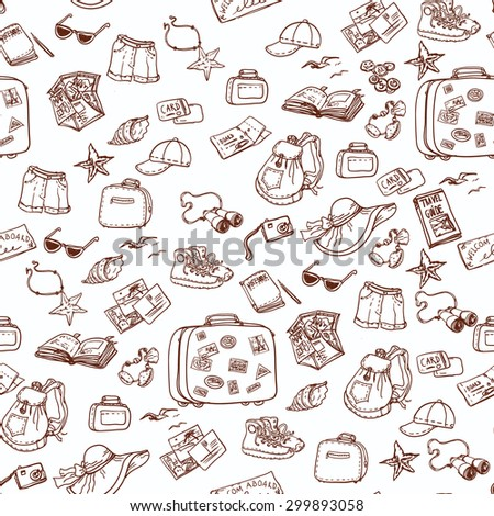 Hand drawn summer time seamless pattern. Travel collection.