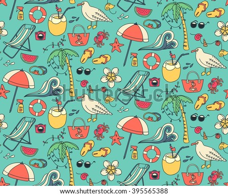 Hand drawn summer time theme seamless pattern. Beach theme background with summer elements. Vector illustration. - stock vector