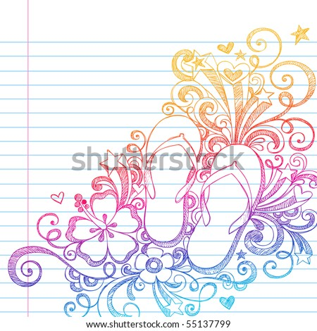 Hand-Drawn Summer Vacation Flip-Flops Shoes and Swirls Tropical Sketchy Notebook Doodles Vector Illustration on Lined Sketchbook Paper Background - stock vector
