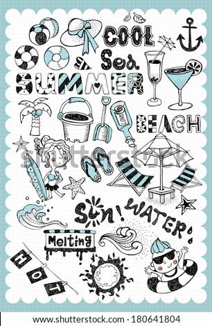 Hand drawn summer vacation set  - stock vector