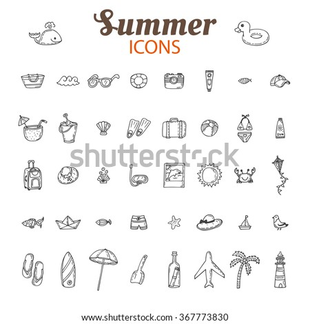 Hand drawn summer vector icon set. Beach icons collection. Vacation. Vector illustration - stock vector