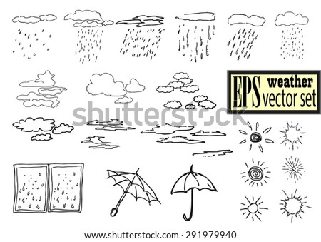 Hand drawn summer weather elements vector set.