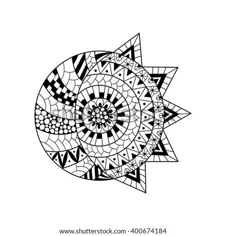 Hand drawn sun and new moon for anti stress colouring page. Pattern for coloring book. Illustration in zentangle style. Monochrome variant. Ethnic background. - stock vector