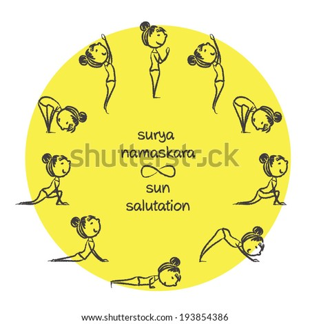 Hand Drawn Sun Salutation Yoga Poses By Cute Little Lady