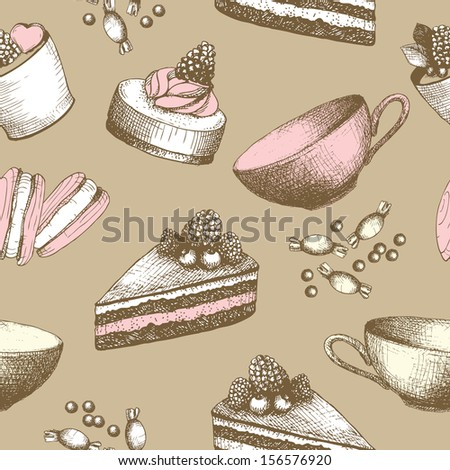 Hand drawn sweet cakes, candies, ice cream background. Vector seamless vintage pattern. - stock vector