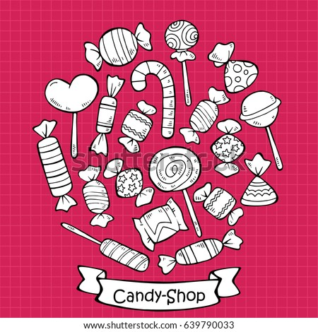 Hand drawn sweet products set with candies and lollipops of different shapes and flavors on bright pink background vector illustration